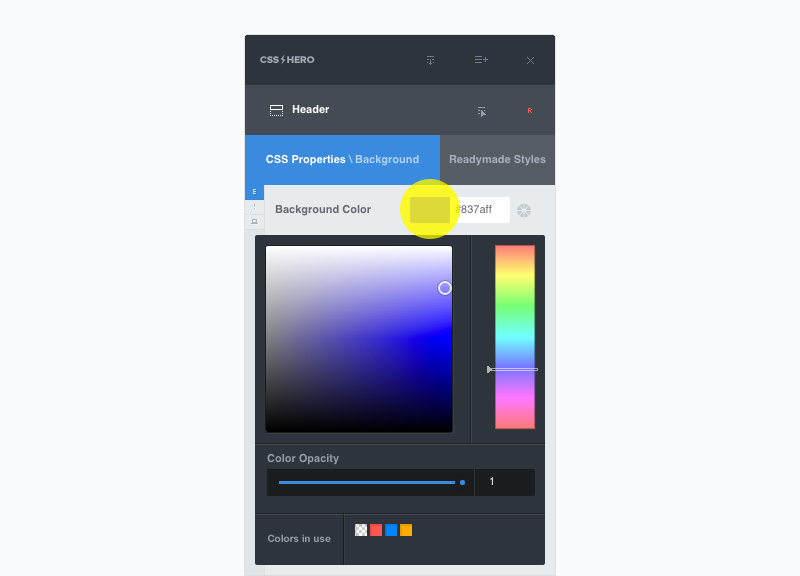 Click on color to enable the color picker panel