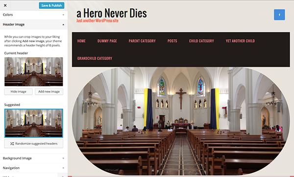custom header in Church WordPress theme
