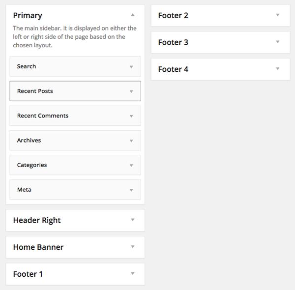Widgets of Church WordPress theme