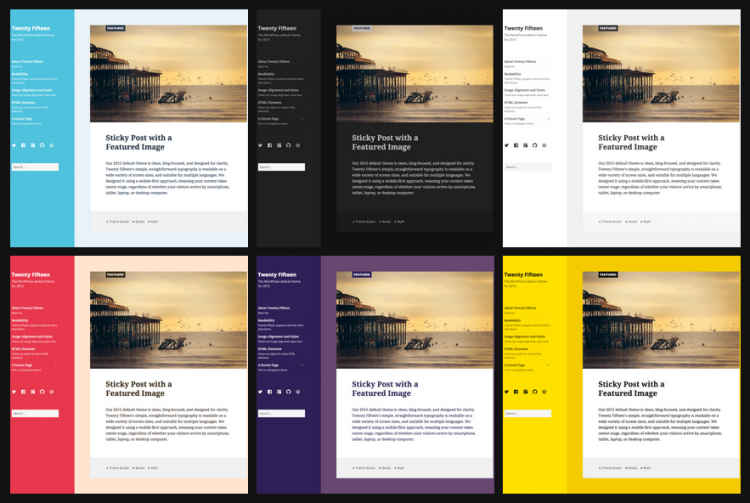 how to customize the colors of the twenty fifteen theme