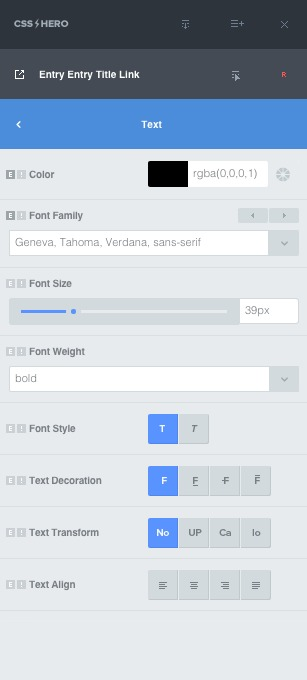 CSS Hero options for customizing fonts