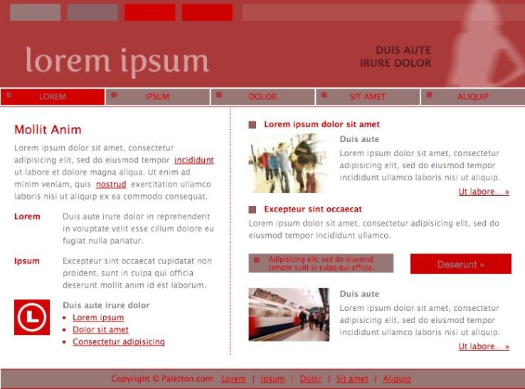 Mock website with chosen color scheme