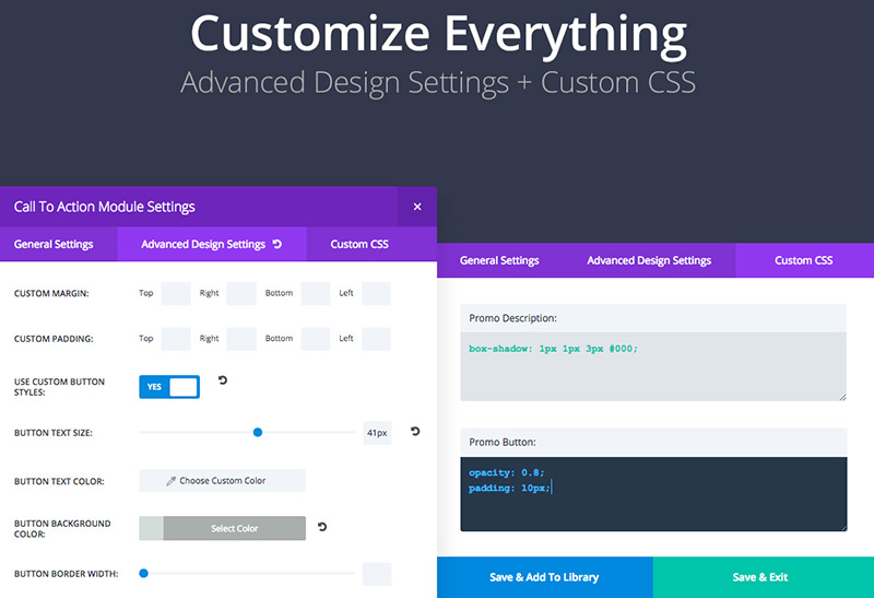 Advanced customization options in the Extra Theme