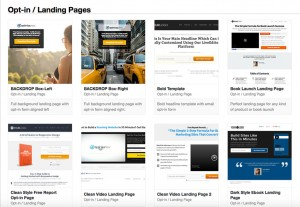Some of available landing page templates in OptimizePress