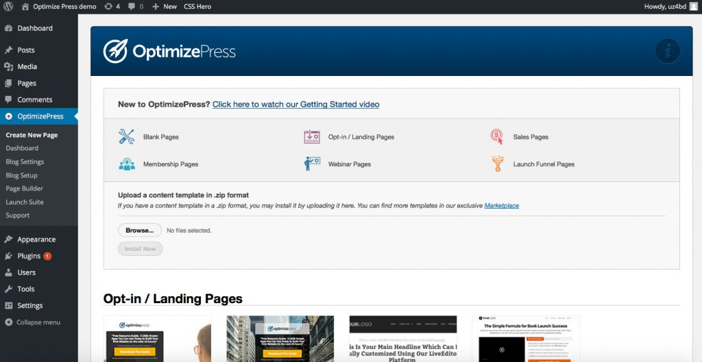 Creating a New Page in OptimizePress