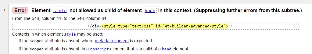 W3C Markup Validator displaying errors