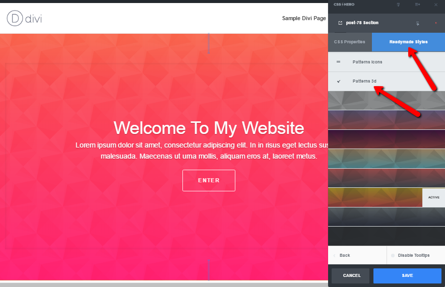 Readymade_Style_patterned_It takes just one click to style your website with CSS Hero's Readymade Style gradientsgradients_2