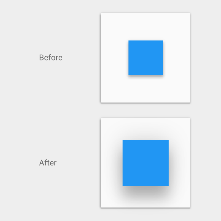 Elevation and shadow animation in material design
