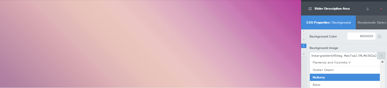Multi-color Mulberry gradient in CSS Hero presets