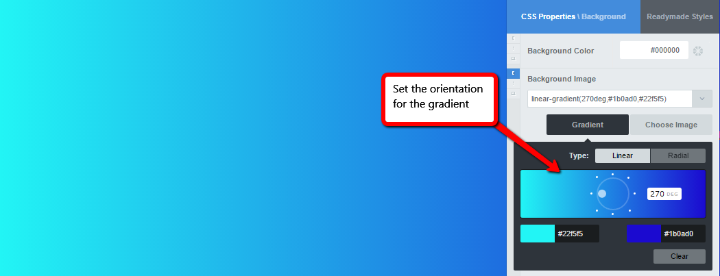 Set the orientation for the linear gradient