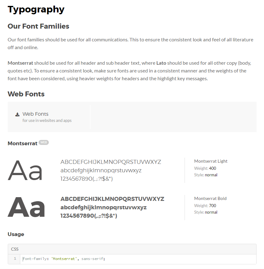 Typography section of a web design style guide by Frontify