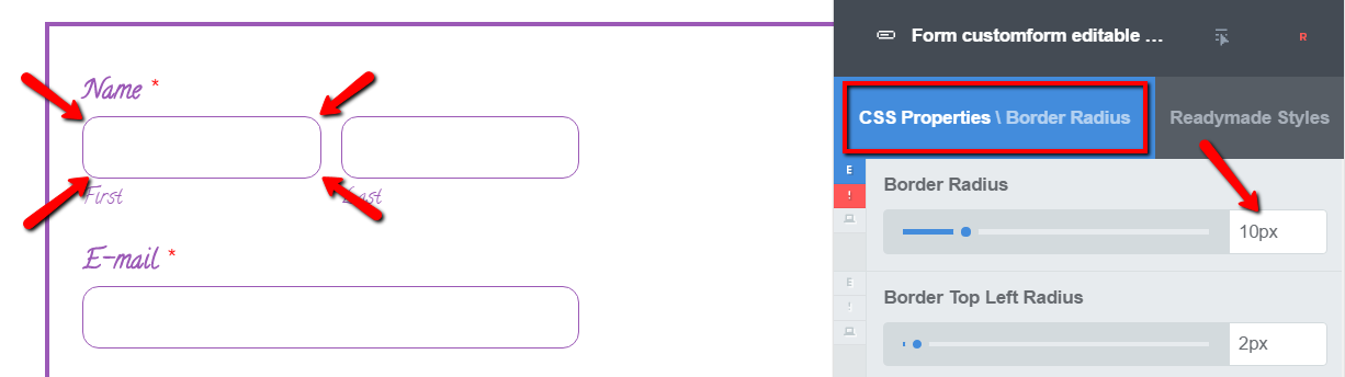 Styling WPForms borders with CSS Hero
