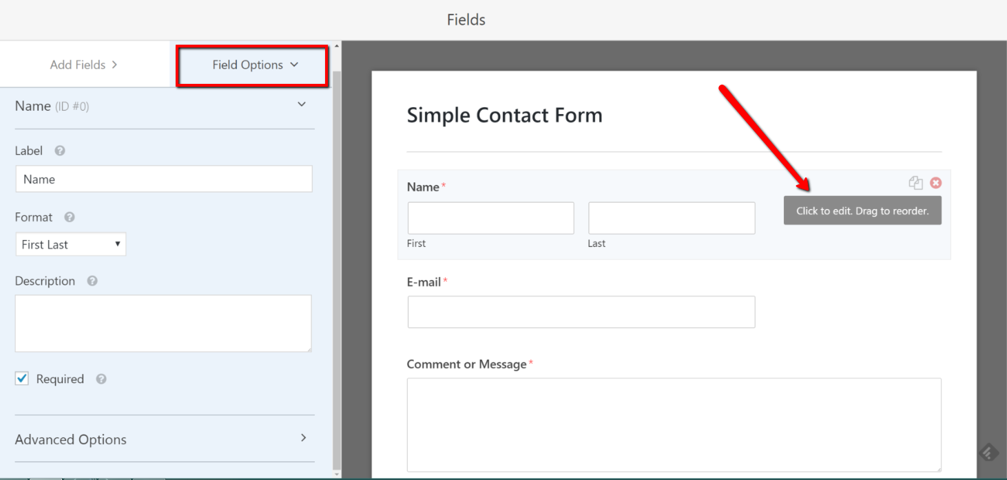 WPForms drag and drop builder