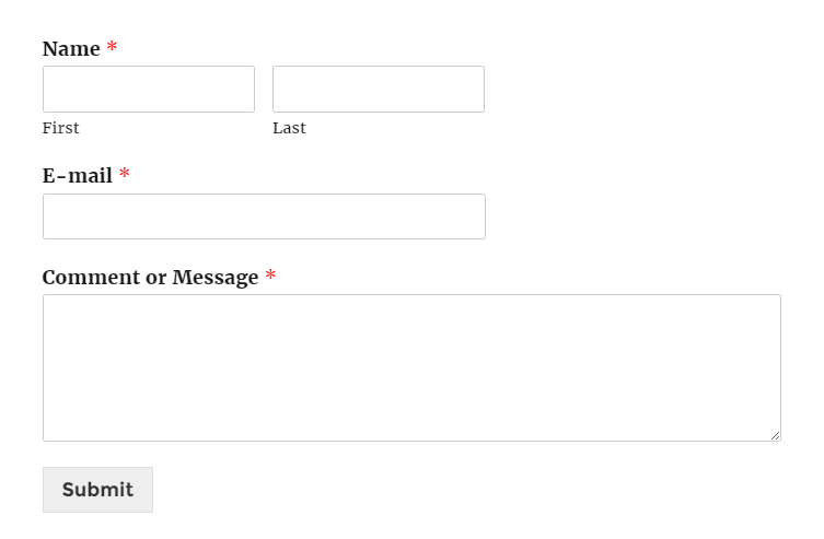 A contact form without any extra CSS