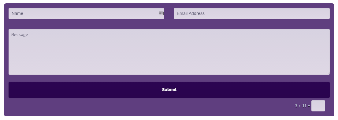A contact form in monochromatic colors