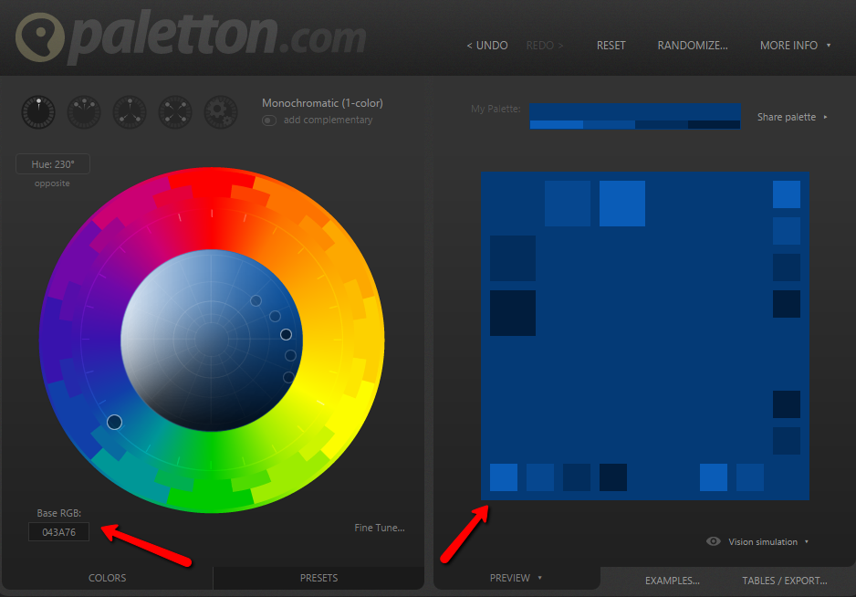 Pick a base color and generate a monochromatic palette with Paletton