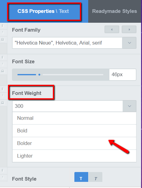 Make a font bolder or lighter with CSS Hero