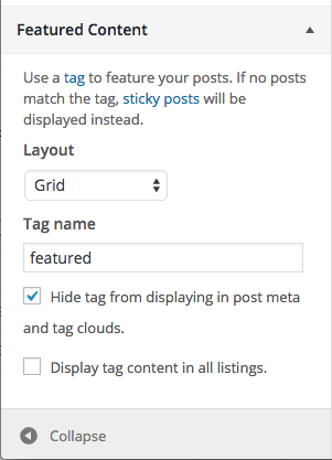 The Featured Content option in the WordPress Customizer of the 2014 Theme
