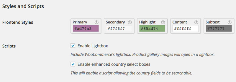 Style and Script Settings in WooCommerce back-end