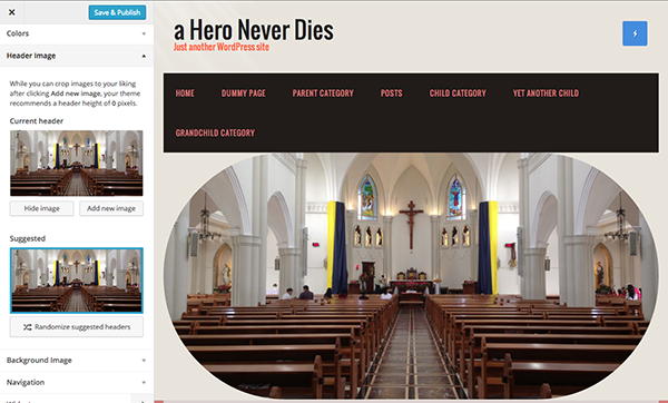 custom header in Church WordPress theme