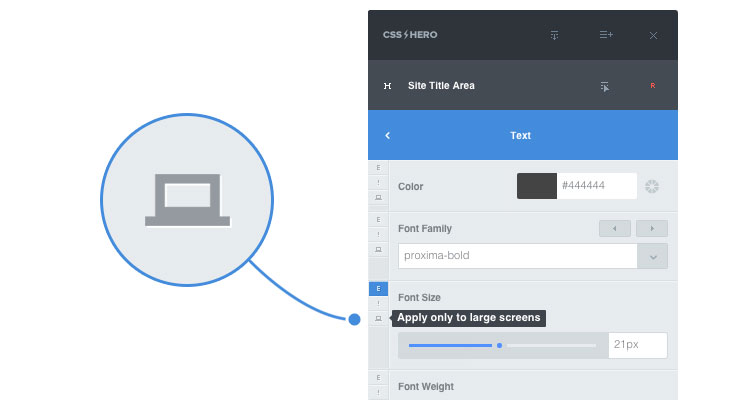 CSS Hero user interface apply only to large screens