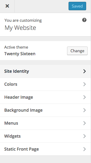 options in wordpress twenty sixteen