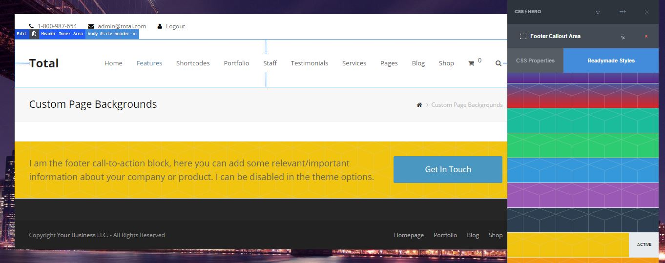 Total WordPress Theme - How to customize the design