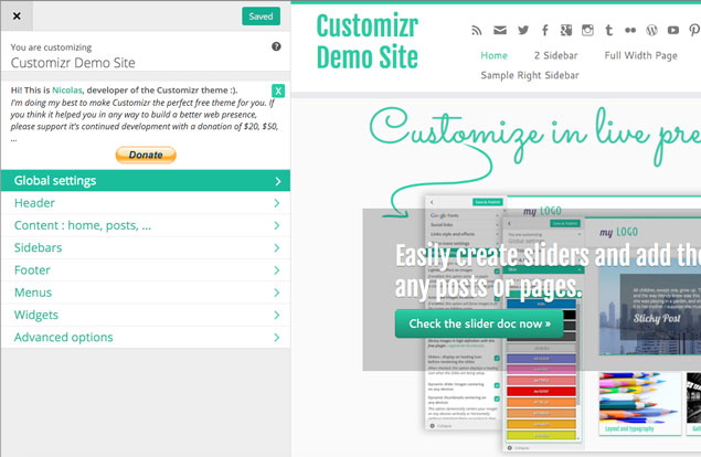 control panel of the customizr wordpress theme