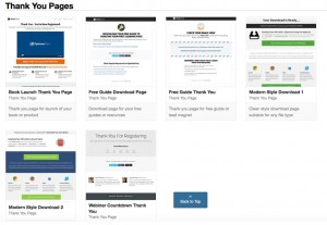 Some of available thank you page templates in OptimizePress