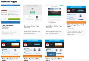 Some of available Webinar page templates in OptimizePress