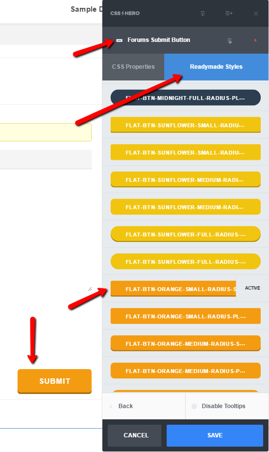 Edit the Submit button in bbPress with CSS Hero Readymade Styles