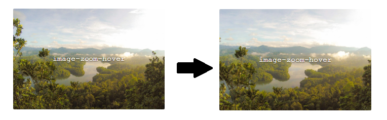 The image zooms in slightly on hover - create this effect with CSS Hero.
