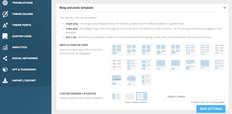 Blog and page templates customizer.