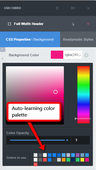Auto-learning color palette in CSS Hero