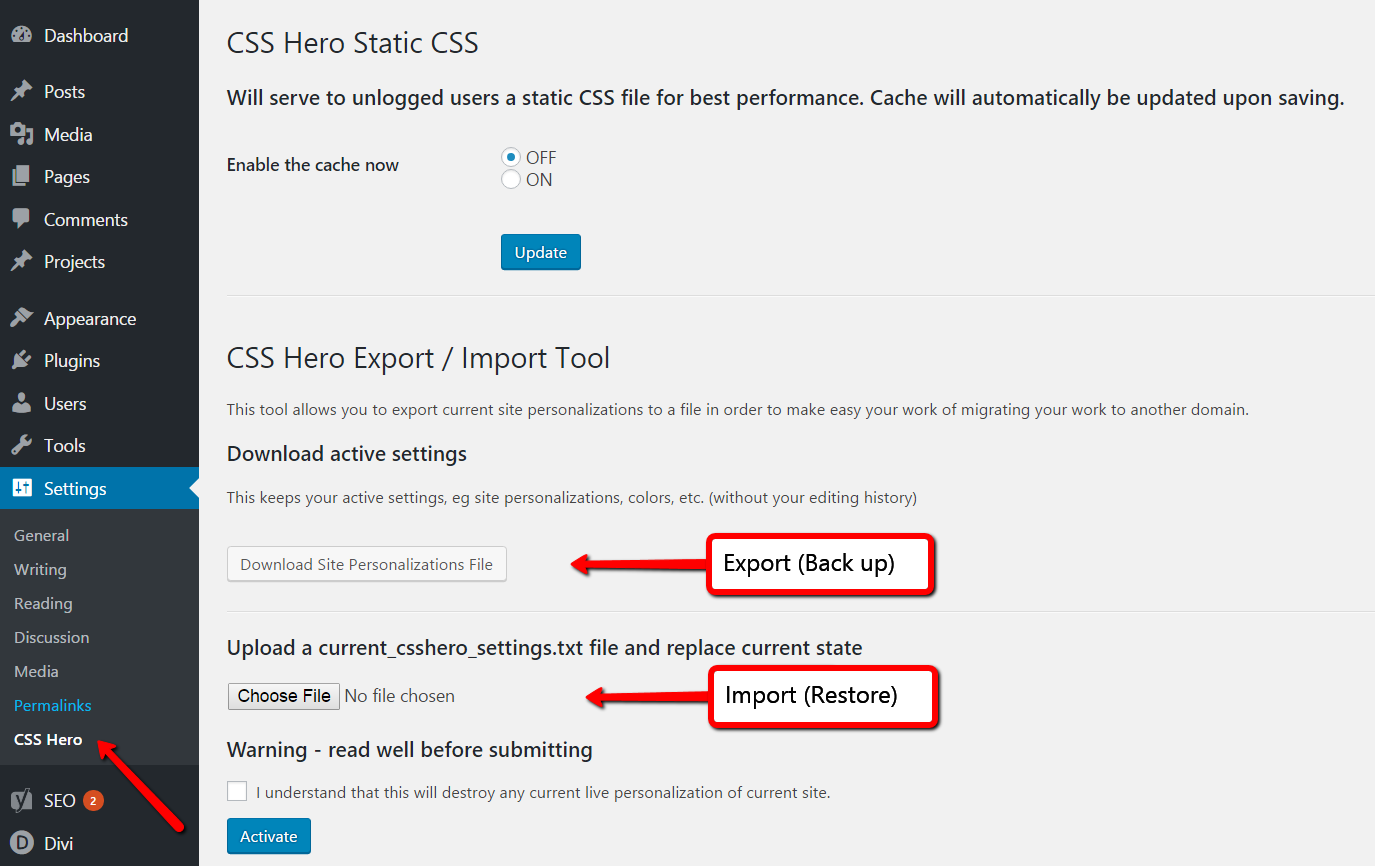 Export or import your current CSS Hero settings