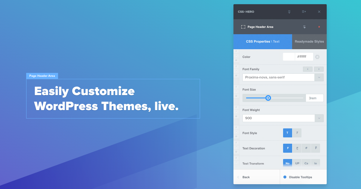 Customize wordpress themes live css hero visual css editor pronofoot35fo Image collections