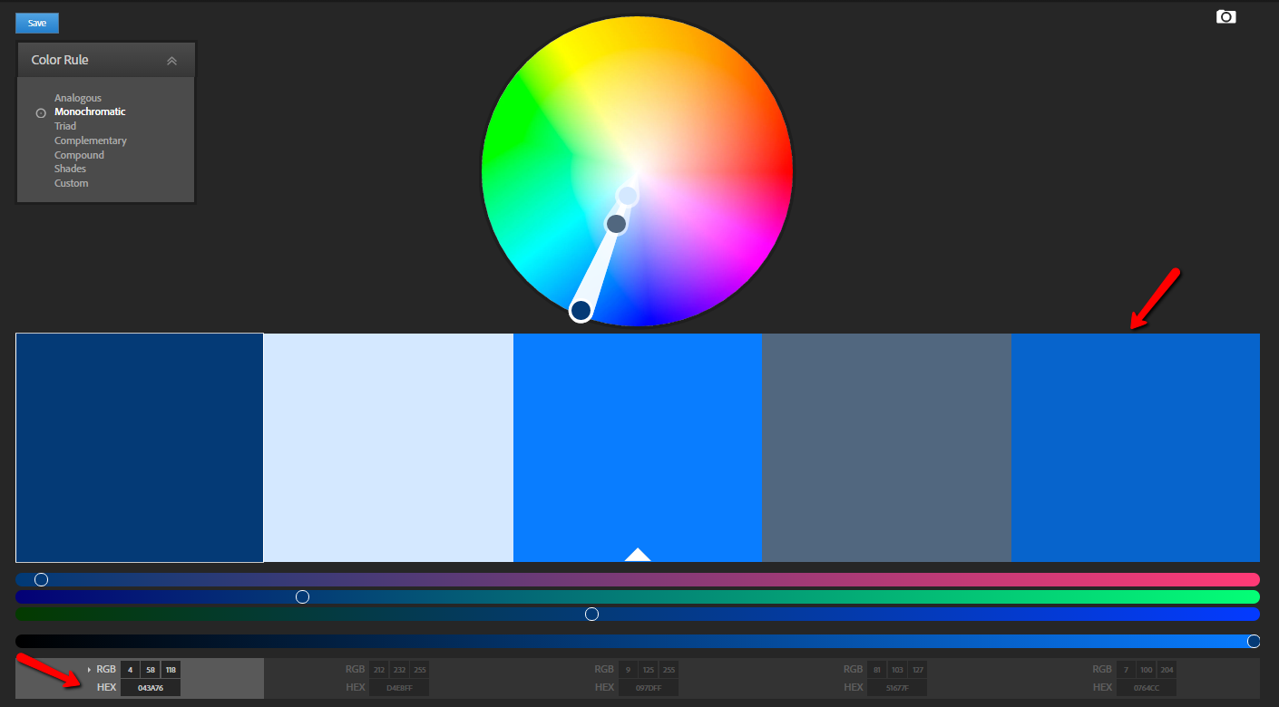 Fancy a monochromatic website design? Generate a monochromatic palette with Adobe Color CC