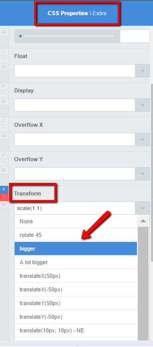 Edit Transform properties to make a pricing table scale up on hover