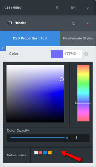 CSS Hero Smart Color Picker tool helps to stay consistent with your design