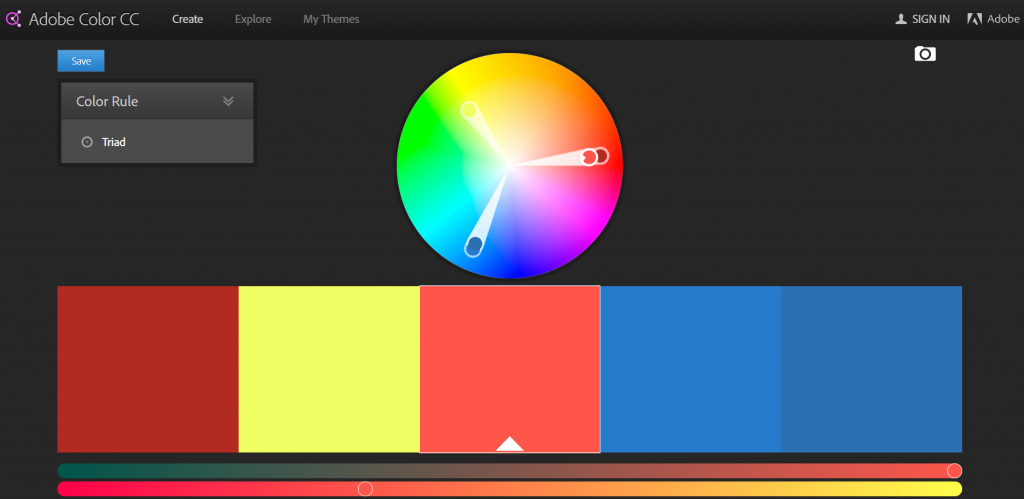Generate a a color palette with Adobe Color CC